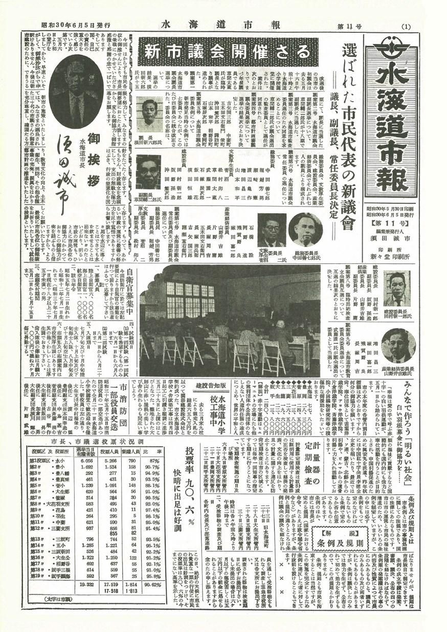 水海道市報 1955年6月 第11号の表紙画像