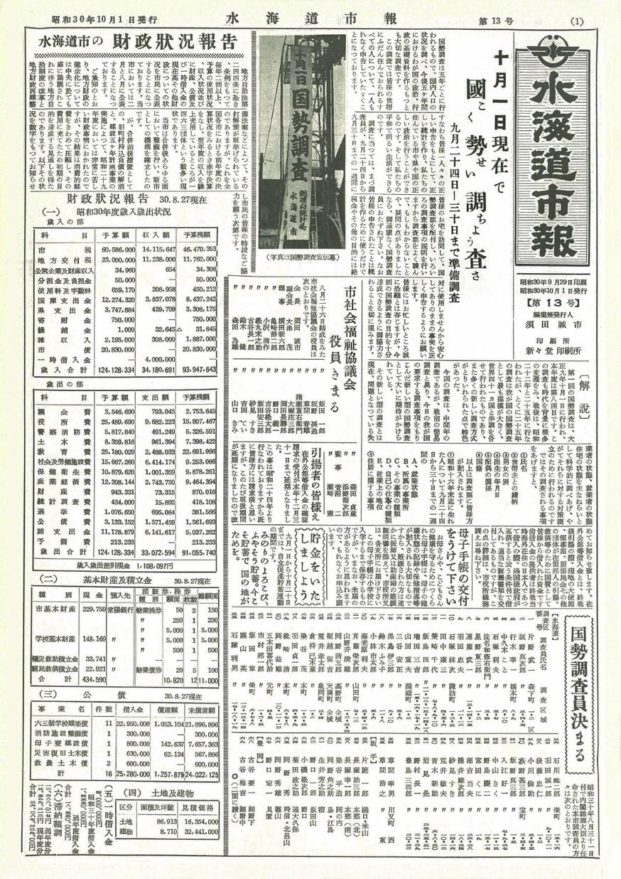 水海道市報 1955年10月 第13号の表紙画像