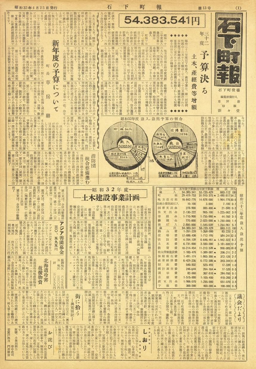 石下町報 1957年4月 第13号の表紙画像